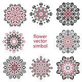 Set of hand drawing zentangle mandala elements. Set of hand drawing zentangle elements. Black and white. Flower mandala. Vector illustration. The best for your Stock Photos