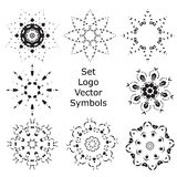 Set Hand drawing zentangle mandala logo symbols Royalty Free Stock Images