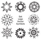Set Hand drawing zentangle mandala logo symbols Stock Photography