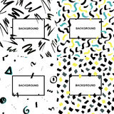 Set of hand drawn abstract backgrounds with brush strokes and geometric shapes made in brush style and copy space for text. Stock Photos