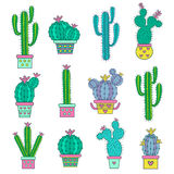 Set  hand drawn  abstract cactuses. Royalty Free Stock Photos
