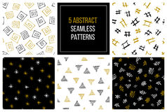 Set of hand drawn abstract seamless patterns. Set of vector hand drawn seamless patterns. EPS 10 stock illustration
