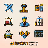 Set of hand drawn AIRPORT icons with - airplane, , passport and ticket, luggage, pilot,gates, taxi, toilet , scoreboard Royalty Free Stock Image