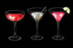 Set of hand drawn alcoholic cocktails on dark background Stock Photo