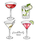 Set of hand drawn alcoholic cocktails isolated on white Royalty Free Stock Image