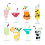 Set of hand drawn alcoholic drinks, cocktails with lettering quotes. Summer holiday and beach party concept. Isolated Stock Images