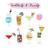 Set of hand drawn alcoholic drinks, cocktails with lettering quotes. Summer holiday and beach party concept. Isolated Stock Photos