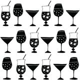 Set of hand drawn alcoholic drinks, cocktails. Pattern for fabric or wrapping paper. Happy New Year celebration concept Royalty Free Stock Image