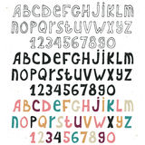 Set of hand drawn alphabet on white background, doodle letters collections, three variations. ABC for your design. Easy to use and edit letters royalty free illustration