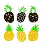 Set of hand drawn ananas Stock Photo