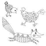 Set of hand drawn animals: fox, hend and chicken Royalty Free Stock Image