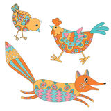 Set of hand drawn animals: fox, hend and chicken Royalty Free Stock Photos
