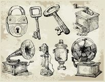 Set of Hand Drawn Antique things Stock Photos