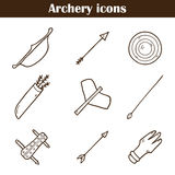Set of hand drawn archery icons Royalty Free Stock Image