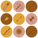 Set of hand drawn archery icons Royalty Free Stock Photos