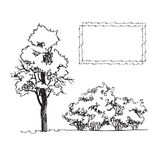 Set of hand drawn architect tree and bushes,tree silhouette Royalty Free Stock Photos