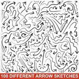Set of hand drawn arrow sketches. Black graphic. Set of 100 hand drawn arrow sketches. Black graphic pointers. Vector illustration for your business and Royalty Free Stock Photos