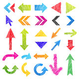 Set: hand-drawn arrows. (icons). Isolated colorful design elements in different shapes. Useful for web ad and websites. Vector illustration on white background Royalty Free Stock Photos