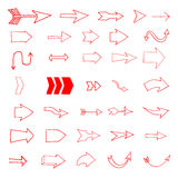 Set of the hand drawn arrows isolated on white background. Desig. N elements for  flyer, poster, websites. Vector illustration Royalty Free Stock Image