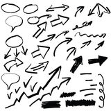 Set of hand drawn arrows and other elements,. Illustration Stock Photography