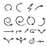 A set of hand-drawn arrows. Stock Images