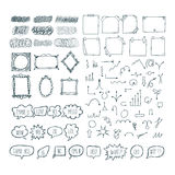 Set of hand drawn arrows, speech bubbles, frames and note papers Royalty Free Stock Photos
