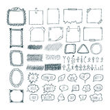 Set of hand drawn arrows, speech bubbles, frames and note papers Royalty Free Stock Image