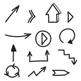 Set of hand drawn arrows. Set of vector hand drawn arrows Stock Photos