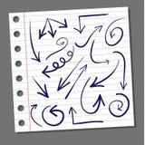 Set of hand drawn arrows. VECTOR. Dark blue arrows royalty free illustration