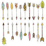 Set of hand drawn arrows. Vector doodles design elements Royalty Free Stock Images