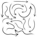 Set of hand drawn arrows. Vector illustration. Grunge sketch of arrows isolated vector illustration