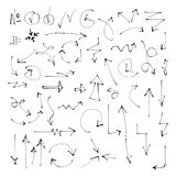 Cut out Hand drawn arrows. Set of hand drawn arrows on white background. Vector isolated pointers Stock Images
