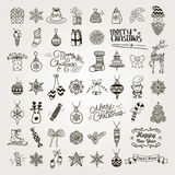 Set of Hand Drawn Artistic Christmas Doodle Icons. Royalty Free Stock Photography