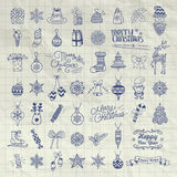 Set of Hand Drawn Artistic Christmas Doodle Icons. Stock Photography