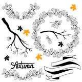 Set of hand drawn autumn branches Stock Image