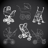 Set  hand drawn baby carriage, stroller, baby carrier, baby stro Stock Photo