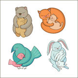 Set of hand drawn Baby and Mommy Animals Royalty Free Stock Images