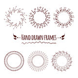 Set of hand drawn badges, borders, frames and labels. Stock Image