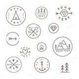 Set of hand drawn badges. Outdoor, camping, tribe. Royalty Free Stock Images