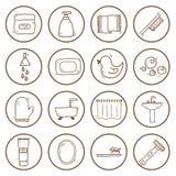 Set of hand drawn bathroom icons Royalty Free Stock Photo