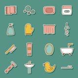 Set of hand drawn bathroom stickers Stock Photos