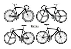 Set bicycles Black white Stock Photography