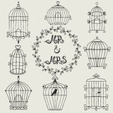 Set of hand drawn bird cages. Can use for invitation, cards and elements decor Stock Images