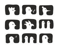 Set of hand drawn birds icons. Royalty Free Stock Image