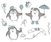 Set of hand drawn Birthday elements with penguin royalty free illustration