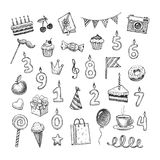 Set of hand drawn birthday objects. Birthday doodle style illustration. Royalty Free Stock Photography
