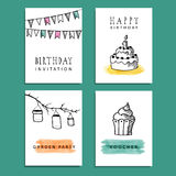 Set of hand drawn birthday party cards,  invitations Stock Images