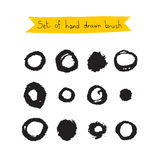 Set of hand-drawn black brush Royalty Free Stock Photos