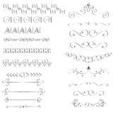 Set of hand-drawn black handle elements. Royalty Free Stock Image