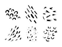 Set of hand drawn black textures and brush stroke Stock Photos